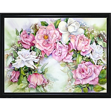 Ophelia & Co. 'Arch Of Pink & White Roses' Print; Flat Back Metal Framed