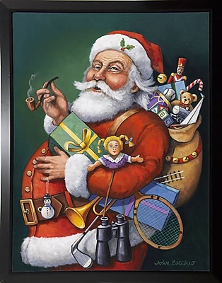 The Holiday Aisle 'Saint Nick and All His Toys' Graphic Art Print; Black Plastic Framed Paper