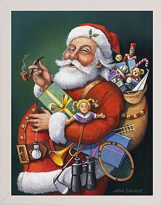 The Holiday Aisle 'Saint Nick and All His Toys' Graphic Art Print; White Wood Medium Framed Paper