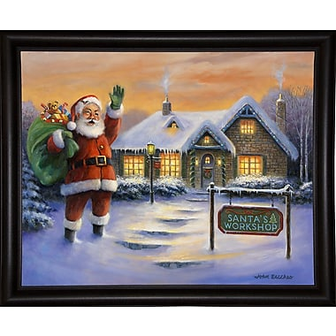 The Holiday Aisle 'Santa's Workshop' Graphic Art Print; Bistro Expresso Framed Paper