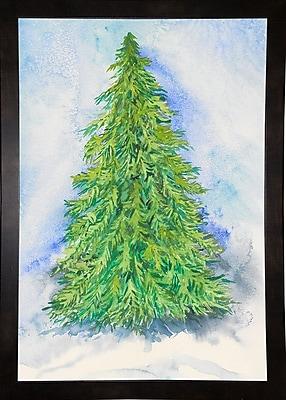 The Holiday Aisle 'Evergreen Tree' Print; Black Wood Medium Framed Paper