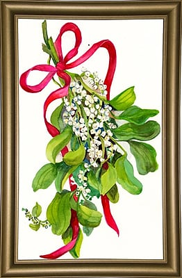 The Holiday Aisle 'Mistletoe w/ Red Ribbon' Print; Bistro Gold Framed Paper