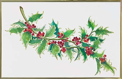 The Holiday Aisle 'Holly' Print; Gold Metal Framed