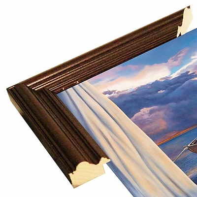 Highland Dunes 'Vacation View' Graphic Art Print; Cherry Wood Grande Framed Paper