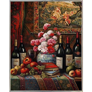 Astoria Grand 'Wine And Floral 4' Graphic Art Print; Silver Metal Framed