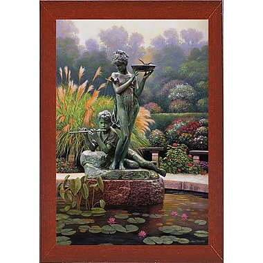 Astoria Grand 'The Fountain II' Graphic Art Print; Red Mahogany Wood Medium Framed Paper