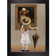 Astoria Grand 'Girl In Museum' Graphic Art Print; Black Wood Large Framed Paper