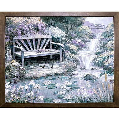 Charlton Home 'Park Bench' Graphic Art Print; Cafe Mocha Framed Paper