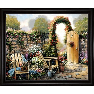 Charlton Home 'Garden Patio' Graphic Art Print; Bistro Expresso Framed Paper