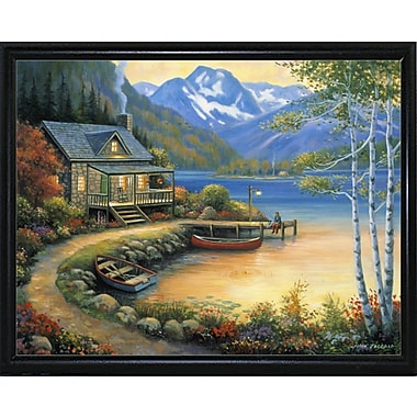 Charlton Home 'Fishing At The Lake' Graphic Art Print; Flat Back Metal Framed