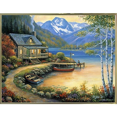 Charlton Home 'Fishing At The Lake' Graphic Art Print; Gold Metal Framed