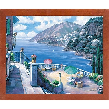 Fleur De Lis Living 'The Amalfi Coast' Graphic Art Print; Canadian Walnut Wood Medium Framed Paper