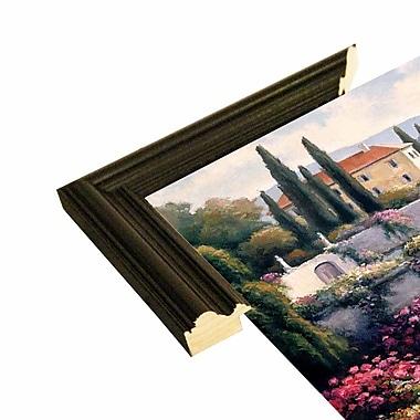 Fleur De Lis Living 'Mediterranean Scene A' Graphic Art Print; Black Wood Grande Framed Paper
