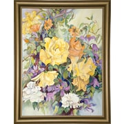 Ophelia & Co. 'Roses w/ Purple Clematis' Print; Bistro Gold Framed Paper