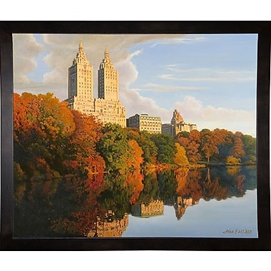 Latitude Run 'Autumn In Central Park' Graphic Art Print; Cafe Espresso Wood Framed Paper