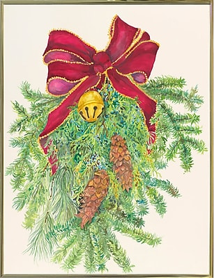 The Holiday Aisle 'Evergreen Branch w/ Bow' Graphic Art Print; Gold Metal Framed