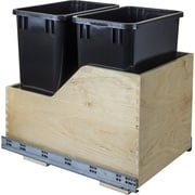 Hardware Resources Double Solid Wood 8.75 Gallon Open Pull Out/Under Counter Trash Can; Black