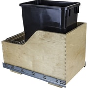 Hardware Resources Solid Wood 8.75 Gallon Open Pull Out/Under Counter Trash Can; Black