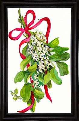 The Holiday Aisle 'Mistletoe w/ Red Ribbon' Print; Bistro Expresso Framed Paper