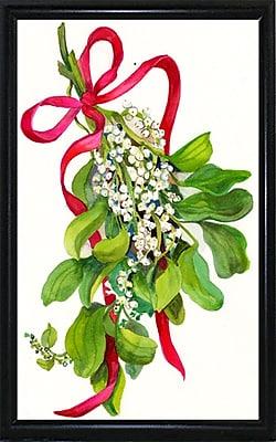 The Holiday Aisle 'Mistletoe w/ Red Ribbon' Print; Black Metal Flat Framed Paper