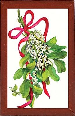The Holiday Aisle 'Mistletoe w/ Red Ribbon' Print; Red Mahogany Wood Medium Framed Paper
