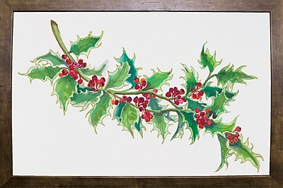 The Holiday Aisle 'Holly' Print; Cafe Mocha Framed Paper