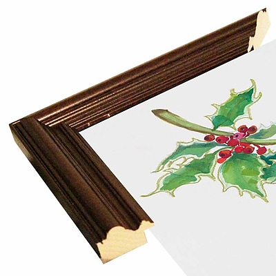 The Holiday Aisle 'Holly' Print; Cherry Wood Grande Framed Paper