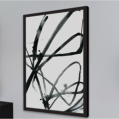 Orren Ellis 'Black Strokes' Framed Watercolor Painting Print On Paper; 72'' H x 48'' W