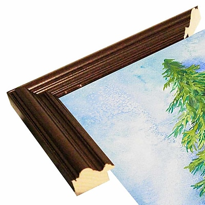 The Holiday Aisle 'Evergreen Tree' Print; Cherry Wood Grande Framed Paper