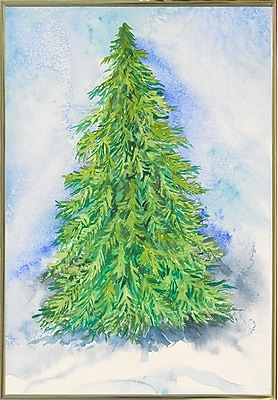 The Holiday Aisle 'Evergreen Tree' Print; Gold Metal Framed Paper