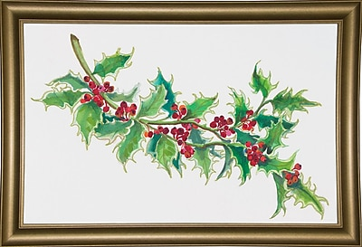 The Holiday Aisle 'Holly' Print; Bistro Gold Framed Paper