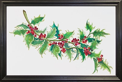The Holiday Aisle 'Holly' Print; Black Wood Grande Framed Paper