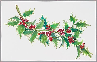 The Holiday Aisle 'Holly' Print; White Metal Framed