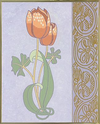 Winston Porter 'Rose Tulip w/ Right Border' Graphic Art Print; Gold Metal Framed Paper