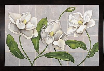 Winston Porter 'White Magnolia' Graphic Art Print; Black Wood Medium Framed Paper