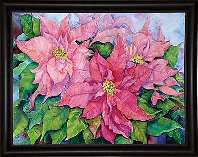 Winston Porter 'Pink Poinsettia' Print; Rolled Canvas