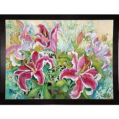 Winston Porter 'Stargazer Lilies' Print; Black Wood Medium Framed Paper