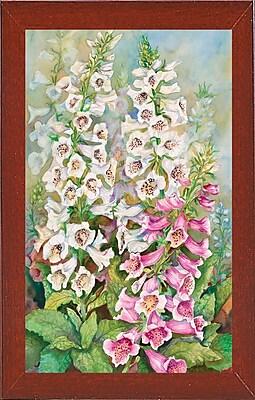 Winston Porter 'Foxglove Spears' Print; Red Mahogany Wood Medium Framed Paper