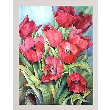 Winston Porter 'Red Tulips' Print; White Wood Medium Framed Paper