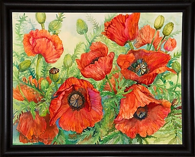 Winston Porter 'Poppies at their Peak' Print; Bistro Expresso Framed Paper