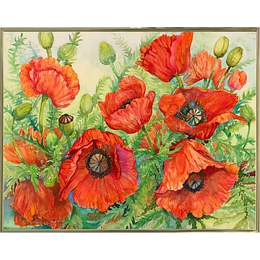 Winston Porter 'Poppies at their Peak' Print; Gold Metal Framed