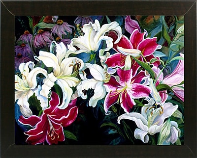 Winston Porter 'Field Of White And Pink Lilies' Print; Brazilian Walnut Wood Medium Framed Paper