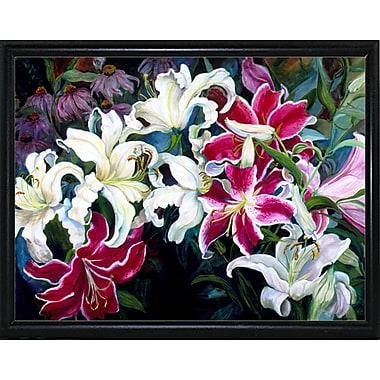 Winston Porter 'Field Of White And Pink Lilies' Print; Flat Back Metal Framed
