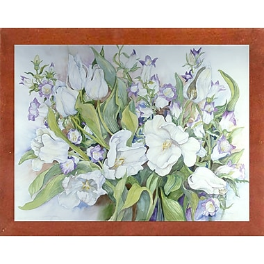 Ophelia & Co. 'White Tulips And Canterbury Bells' Print; Canadian Walnut Wood Medium Framed Paper