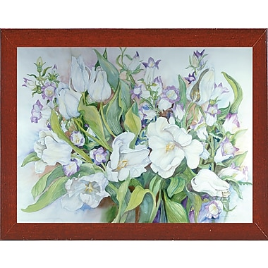 Ophelia & Co. 'White Tulips And Canterbury Bells' Print; Red Mahogany Wood Medium Framed Paper