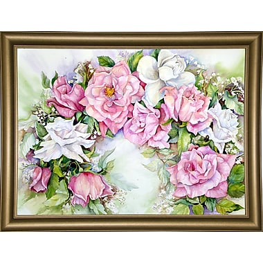 Ophelia & Co. 'Arch Of Pink & White Roses' Print; Bistro Gold Framed Paper