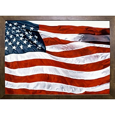 Charlton Home 'American Flag' Graphic Art Print; Cafe Mocha Framed Paper