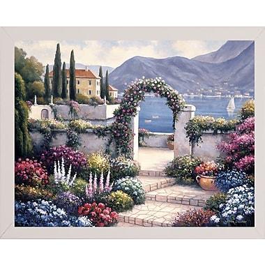 Fleur De Lis Living 'Mediterranean Scene A' Graphic Art Print; White Wood Medium Framed Paper