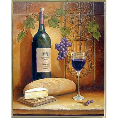 Fleur De Lis Living 'Wine And Cheese A' Graphic Art Print; Gold Metal Framed