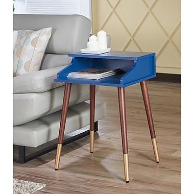 Ivy Bronx Kennison Mid Century Modern End Table; Blue